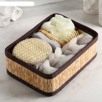Набор банный 7 предметов: 4 мочалки, пемза, массажер, цвет микс