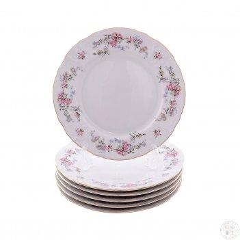 Набор тарелок bernadotte дикая роза золото 19 см(6 шт)