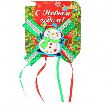 Карнавальный зажим снеговичок с бантиком