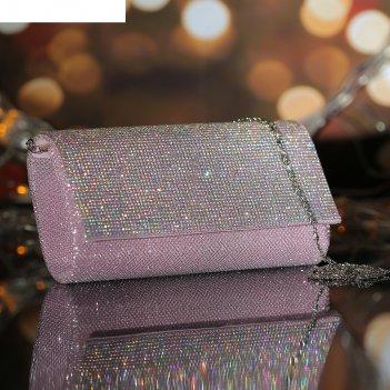 Клатч жен роксана, 20*5*10, отд на магните, длинн цепь, розовый