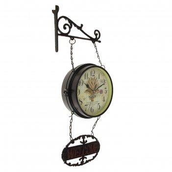 Часы настенные двойные, серия: садовые, рожь, чёрные, d=17 см, 24х60 см
