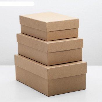 Набор коробок 3в1 крафт однотонный, 19 х 12 х 7,5 - 15 х 10 х 5 см