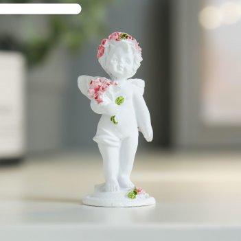 Фигурка полистоун ангел с букетом розовых роз микс 7х3х3 см