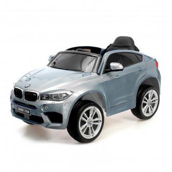 Электромобиль bmw x6m, окраска глянец серебро, eva колеса, кожаное сидение