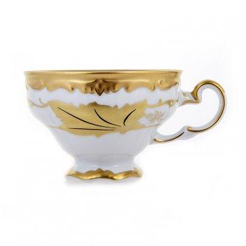 Чашка чайная 210мл.1шт.+блюдце кленовый лист белый