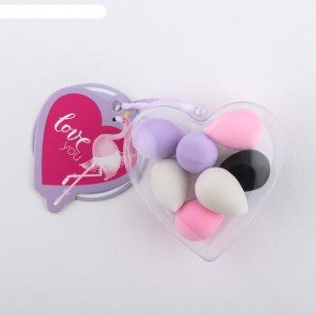 Набор спонжей для макияжа в сердечке love you, 7,5 х 8,5 х 3,5 см