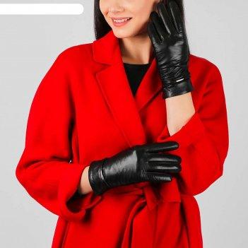 Перчатки женские натуральная кожа/шерсть (размер 8.5) черный