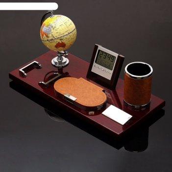 Набор настольный 6в1(глобус, часы, скрепочница, карандащница, блок д/бумаг