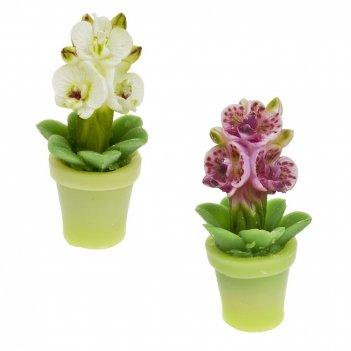 Свеча декоративная орхидея 6,5*7*14,5см. (2вида) (min12) (парафин) (упаков