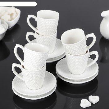 Сервиз кофейный соты, 12 предметов: 6 чашек 90 мл, 6 блюдец 11,5 см