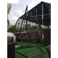Подвесное кресло бора-бора двухместное, коричневое