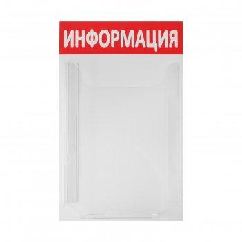 Информационный стенд информация 1 объёмный карман а4, цвет красный