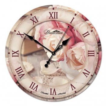 Настенные часы из стекла династия 01-028 розы