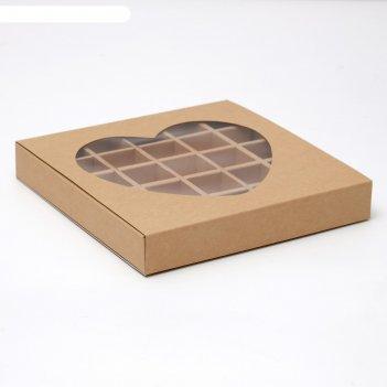 Упаковка для конфет 25 шт, 22 х 22 х 3,5 см, крафт