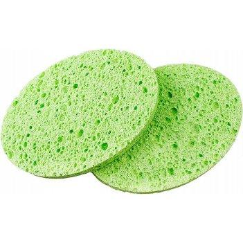 Спонж ce-75105 для снятия макияжа зеленый 75х105х10 мм, 2 шт