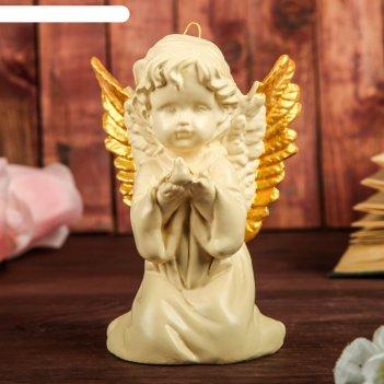 Сувенир ангел с голубем, подвесной, слоновая кость, золото, 15 см