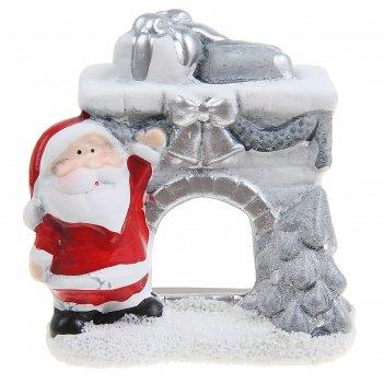 Подсвечник керамика камин с дедушкой морозом 10х9,5х6 см