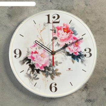 Часы настенные круглые цветы, 25 см