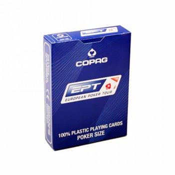 Карты для покера copag ept 100% пластик, бельгия, синяя рубашка