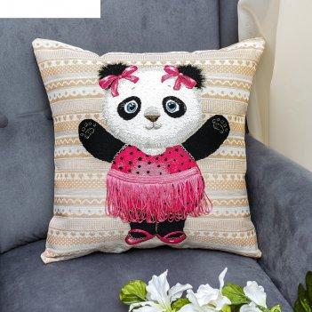 Наволочка из гобелена панда в юбочке 45*45, 370 г/м пэ 100%