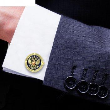 Запонки мужские герб золото