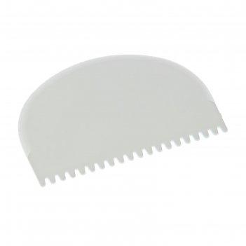 Шпатель кондитерский 10,5x8 см зубчики, цвет белый