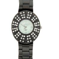 Часы женские наручные на браслете, черные, обод со стразами