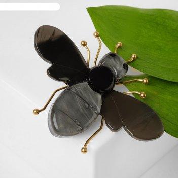 Брошь пластик муха крупная, цвет серый в золоте