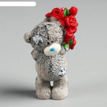 Сувенир полистоун медвежонок me to you с огромным букетом алых роз 4,5 см