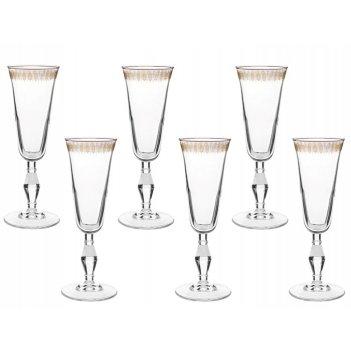 Набор 6 бокалов для шампанского золотой узор