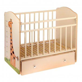 Детская кроватка «морозко. жираф» с ростомером, на маятнике, с ящиком, цве