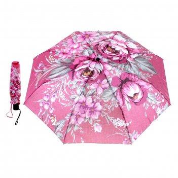 Зонт женский flioraj розовые цветы, 3 сложения, суперавтомат, сатин