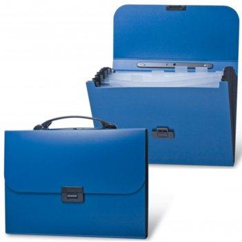 Портфель пластиковый а4 energy, 256х330мм, 6 отделений, синий