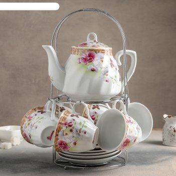 Сервиз чайный садовый дворик, 13 предметов на подставке: 6 чашек 250 мл, 6