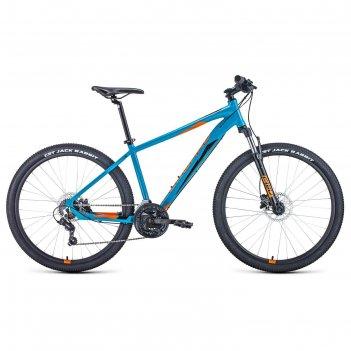 Велосипед 27,5 forward apache 3.2 disc, 2021, цвет бирюзовый/оранжевый, ра