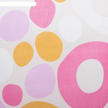 Тюль этель калейдоскоп (цвет розовый) без утяжелителя, ширина 135 см, высо