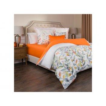 Кпб евро гармоника,хлопок 100%,цветы+оранж,под200-220 -1шт., пр 240х240 -1