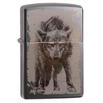 Зажигалка zippo wolf design с покрытием black ice®, латунь/сталь, чёрная,
