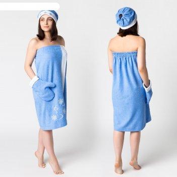 Комплект для сауны с вышив жен снегурочка (юбка 80х150, вареж, шапка), мах