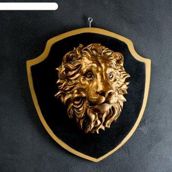 Панно голова льва бронза, щит черный