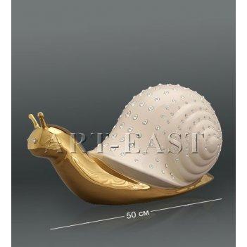 Ahura- 07 фигура улитка белая с кристаллами сваровски
