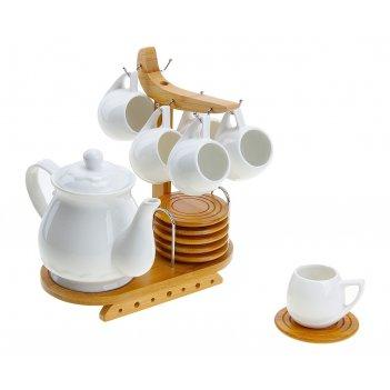 Сервиз чайный эстет. тюльпан, 13 предметов на подставке: 6 чашек 100 мл, 6