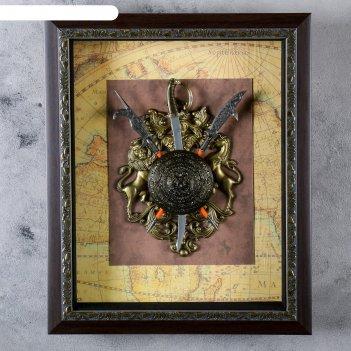 Сувенирное изделие в раме, меч и щит с геральдикой