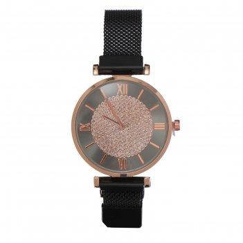 Часы наручные женские овимин d=3.8 см, ремешок на магните, чёрные