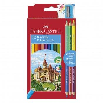 Карандаши 12 цветов faber-castell «замок» шестигранный + 3 двух цветов кар