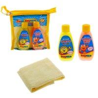 Дорожный набор бафики: жидкое мыло 50 мл, шампунь 50 мл, полотенце