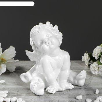 Статуэтка ангел сидит малый №2 белый 18 см