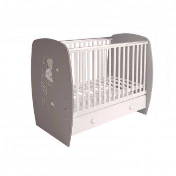 Кроватка детская polini kids french 710, amis, с ящиком, цвет белый-серый