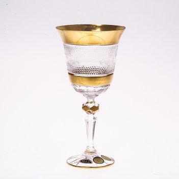 Набор бокалов для вина 220 мл хрусталь с золотом max crystal (6 шт)