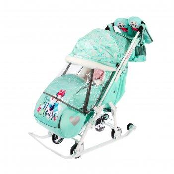 Санки коляска «disney-baby 2. минни маус», цвет мятный